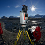 UNAVCO polar engineer Marianne Okal scans stream systems in the Taylor Valley for the McMurdo Dry Valleys Long Term Ecological Research (LTER) project, with University of Colorado INSTAAR ma ...