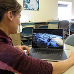 UNAVCO polar engineer Marianne Okal demonstrates the RIEGL VZ-400 terrestrial laser scanner (TLS) to NSF Glaciology Program Manager Julie Palais in the Crary Lab at McMurdo Station, Antarcti ...